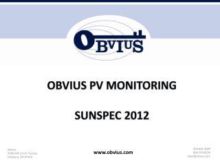 Obvius  PV Monitoring SunSpec  2012
