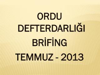 ORDU DEFTERDARLIĞI BRİFİNG TEMMUZ - 2013