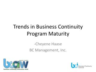 Trends in Business Continuity Program Maturity
