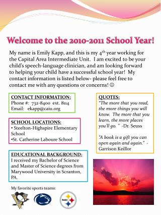 Welcome to the 2010-2011 School Year!
