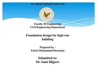 An-Najah National University Faculty Of Engineering  Civil Engineering Department