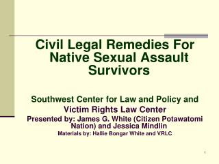 Civil Legal Remedies For Native Sexual Assault Survivors  Southwest Center for Law and Policy and Victim Rights Law Cent