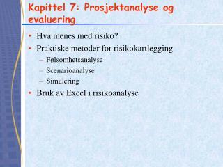 Kapittel 7: Prosjektanalyse og evaluering