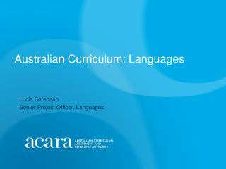 Australian Curriculum: Languages