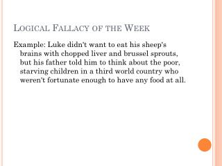 Logical Fallacy of the Week