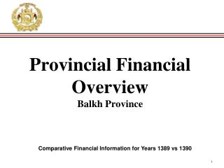 Provincial Financial Overview Balkh  Province