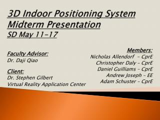 3D Indoor Positioning System Midterm Presentation SD May 11-17