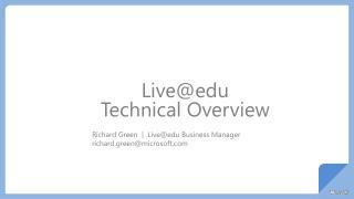Live@edu Technical Overview