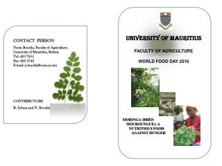 CONTACT  PERSON Navin Boodia, Faculty of Agriculture,  University of Mauritius, Réduit.