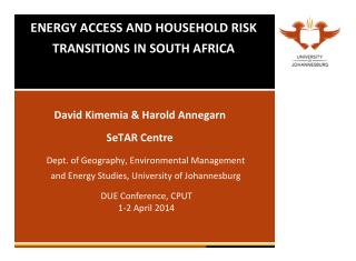 ENERGY ACCESS AND HOUSEHOLD RISK TRANSITIONS IN SOUTH AFRICA