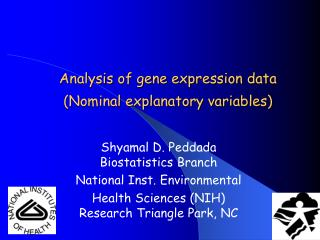 Analysis of gene expression data Nominal explanatory variables