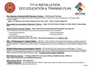 FY14 INSTALLATION EEO EDUCATION & TRAINING PLAN