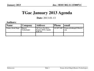 TGac January 2013 Agenda