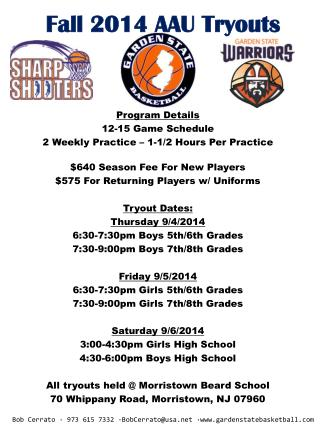Fall  2014  AAU Tryouts