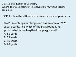 2-11-13  Introduction to Geometry