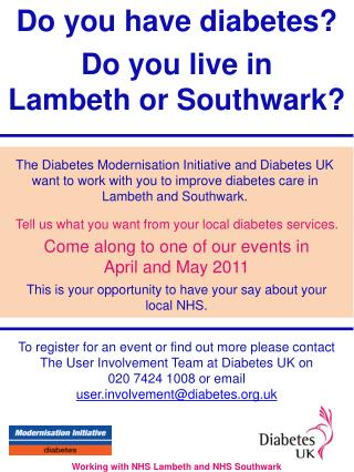 Do you have diabetes? Do you live in  Lambeth or Southwark?