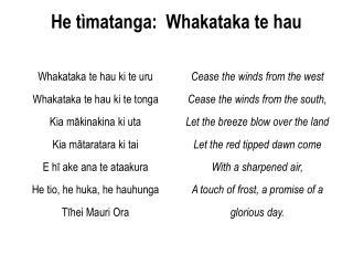 He tìmatanga:  Whakataka te hau