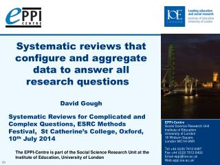 Systematic reviews that configure and aggregate data to answer all research questions  David Gough
