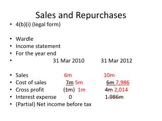 Sales and Repurchases
