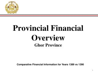 Provincial Financial Overview Ghor Province