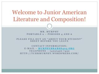 Welcome to Junior American Literature and Composition!