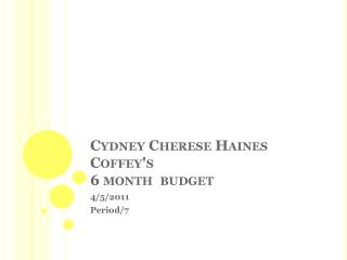 Cydney Cherese Haines Coffey's  6 month  budget