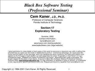 Black Box Software Testing Professional Seminar