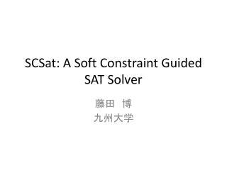 SCSat : A Soft Constraint Guided SAT Solver