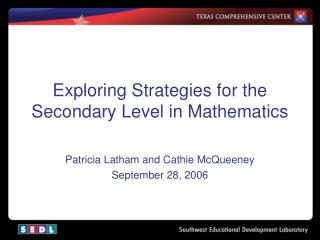 Exploring Strategies for the Secondary Level in Mathematics