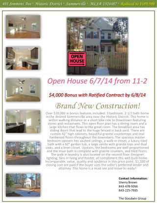 Open House 6/7/14 from  11-2 $4,000 Bonus with Ratified Contract by 6/8/14