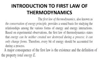 INTRODUCTION TO FIRST LAW OF THERMODYNAMICS