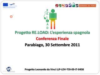 Progetto  RE.LOAD:  L'esperienza spagnola Conferenza  Finale Parabiago ,  30  Settembre  2011
