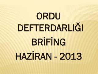 ORDU DEFTERDARLIĞI BRİFİNG HAZİRAN - 2013