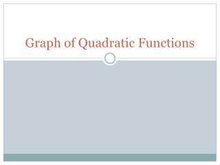 Graph of Quadratic Functions