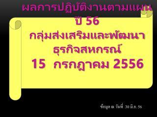 ผล การปฏิบัติงานตามแผน ปี  56 กลุ่มส่งเสริมและพัฒนาธุรกิจสหกรณ์ 15  กรกฎาคม 2556