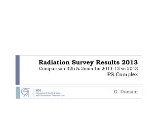 Radiation Survey Results 2013 Comparison 32h & 2months 2011-12  vs  2013 PS Complex