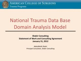 National Trauma Data Base Domain Analysis Model