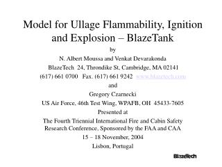 Model for Ullage Flammability, Ignition and Explosion   BlazeTank