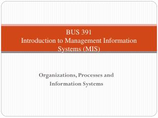BUS 391 Introduction to  Management Information Systems (MIS)