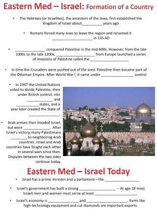 Eastern Med  – Israel:  Formation of a Country