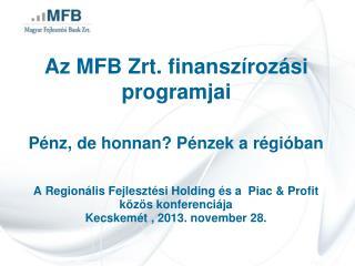Az MFB Zrt. finanszírozási programjai