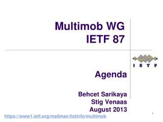 Agenda  Behcet Sarikaya Stig Venaas August 2013