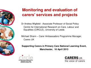 Monitoring and evaluation of carers' services and projects