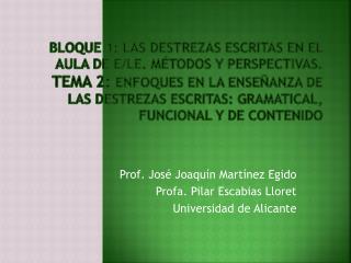Prof. José Joaquín Martínez Egido Profa . Pilar Escabias Lloret Universidad de Alicante