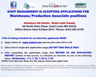 STAFF MANAGEMENT IS ACCEPTING APPLICATIONS FOR  Warehouse/Production  Associate  positions