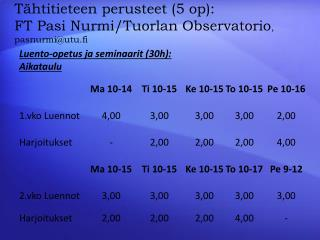 Tähtitieteen perusteet (5 op):  FT Pasi  Nurmi/Tuorlan  Observatorio ,  pasnurmi@utu.fi