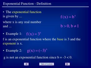 Exponential Function - Definition