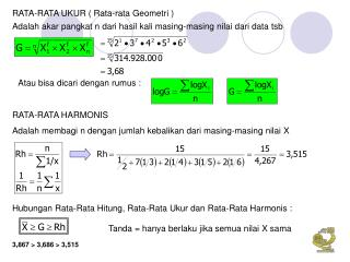 RATA-RATA UKUR ( Rata-rata Geometri )