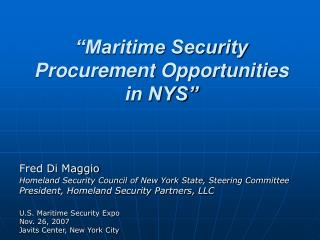 Maritime Security Procurement Opportunities  in NYS