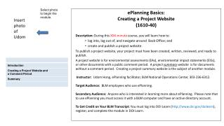 ePlanning Basics:  Creating a Project Website (1610-40)